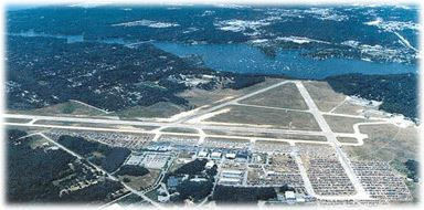 Airport - June 2001 - aerial view of runways - Photo by Marge Beaver