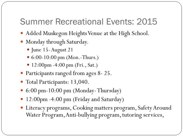 Summer Recreational Events