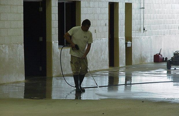 Muskegon Area Transit System (MATS) - October 2 2001 - cleaning floor