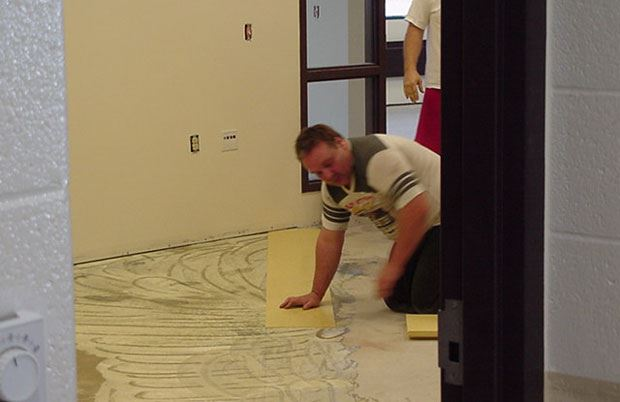Muskegon Area Transit System (MATS) - October 2 2001 - laying tile on floor
