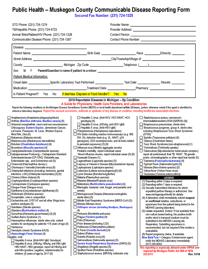 CD Reporting Form January 2018