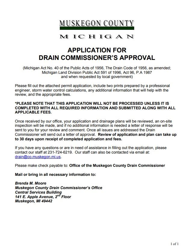 Application for Drain Commissioner's Approval